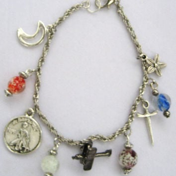 charm bracelet inspired by the Little Prince W/ glow in the dark glass beads