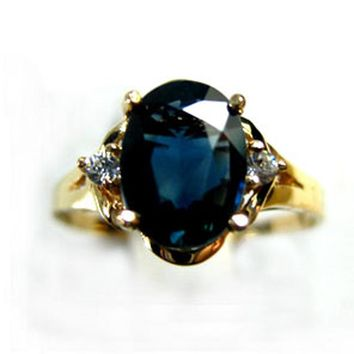 Cool 1.5Carat AAAA Natural Sapphire 18K Yellow Gold Lowest Price Natural Diamond Women's King Ring Queen anelAT_93_12