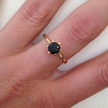 20% off-SALE!! Onyx Slim Ring - Gold Tiny Ring - Gemstone Ring - Black Jewelry - Round Stone Ring - Birthday Gift - Solitaire Ring