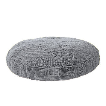Super Snoozer Microfiber Chenille Round Dog Bed — Grey