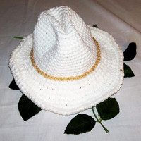 Baby Cowboy Hat-White and Ecrut-Crochet-made in the USA--12-24M