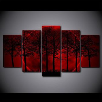 Red Moon Sky Painting Dark Forest on wall art canvas