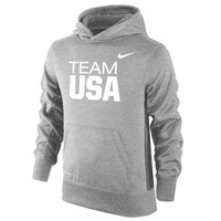"Youth Nike Heather Gray USA KO ""Team USA"" Therma-FIT Performance Pullover Hoodie"