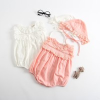 Baby Rompers Summer Thin Baby Girl Clothes  Baby Girl Lace Dress 2018 Newborn Baby Clothes Roupas Bebe Infant Jumpsuits with Hat