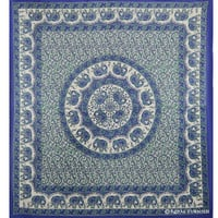 Blue Elephant Mandala Hippie Hippy Cotton Tapestry Bedspread