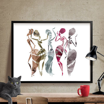 African Dancers Abstract Wall Art, Dancers Painting , Abstract Print, Watercolor Art Print, Abstract Wall Art Print Dancers Poster (308)