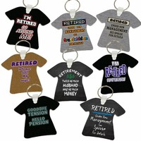 Retirement Aluminum T-Shirt Shaped Key Tags