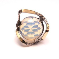 Gold and Silver ring with opalite hand made by jewelry2buy on Etsy