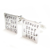 Father of the Bride Cufflinks Forever your Girl Square Hand Stamped Wedding personalized gift men cuff links Birthday