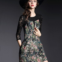 Black Lace and Flower Embroidered Dress