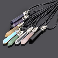 Chakra Healing Stone Hexagonal Pendant Necklace