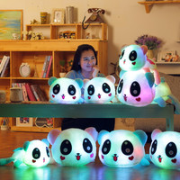 35cm 14'' Luminous Stuffed Panda Toy LED Light Up Plush Doll Glow Pillow Music Playing Auto Color Rotation Illuminated Cushion
