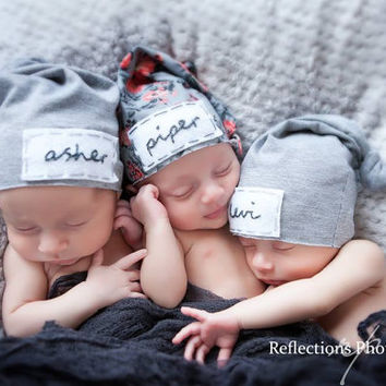 newborn personalized hat- triplets -personalized newborn hat - baby gifts - baby boy - baby girl - name hat - baby beanie - hospital hat