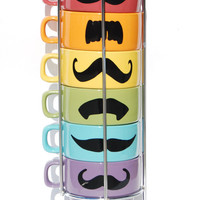 Pastel Multi Color Mustache Coffee Mugs Spring set by lovegracejoy