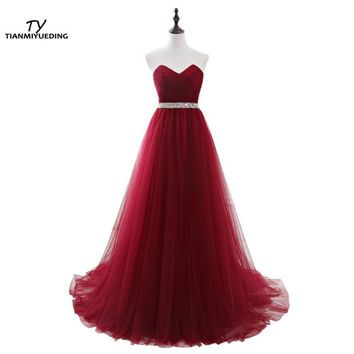 TIANMIYUEDING Burgundy Long Evening Dresses In Stock Sequins Beaded Sash Vestido Longo Pleated Tulle Lace Up Back Robe De Soiree