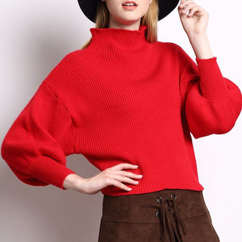 Red Turtleneck Candy Color Puff Sleeve Sweater