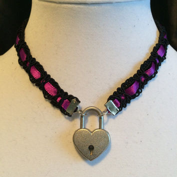 14.5 inch Royal Purple Satin Ribbon and Black Velvet submissive Day Collar with Working Heart Padlock