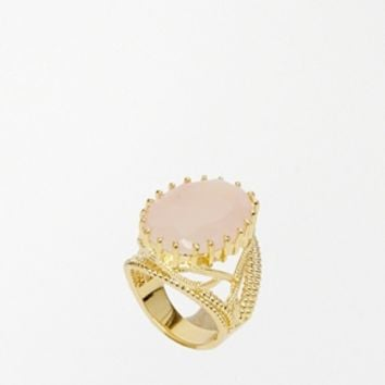Rock 'N Rose Virginia Rose Quartz Semi Precious Cocktail Ring - Rose q