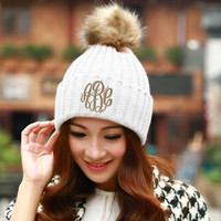 Monogrammed CREAM Knit Toboggan Beanie Winter Hat  Font shown MASTER CIRCLE in khaki