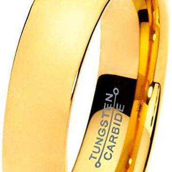 18K Yellow Gold Tungsten Wedding Band For Women Plated Domed Polished Comfort Fit - 5mm