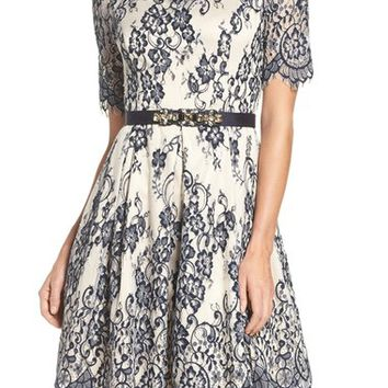 Eliza J Lace Fit & Flare Dress (Regular & Petite) | Nordstrom