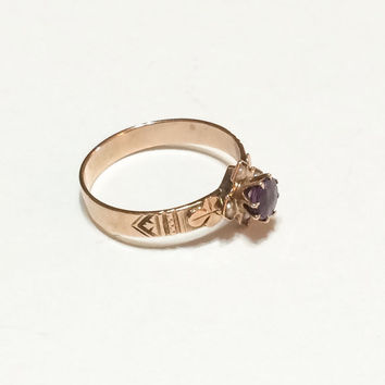 Victorian Rose Gold and Amethyst Ring, Seed Pearls, Engraved, 14K Gold, Alternative Engagement Ring, Antique