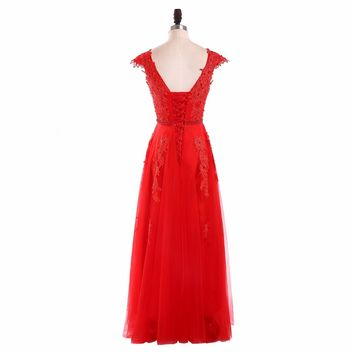 Red Scoop Neck Tulle Lace Up A Line Long Evening Dresses Cap Sleeves Appliques Beading Floor Length Evening Dress