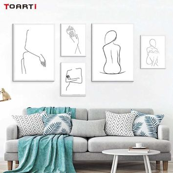 Abstract Lady Body Line Drawing Poster&Prints Modern Home Decor Canvas Painting Modular Wall Picture For Girls Bedroom Wall Art