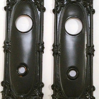SALE! Antique Tall Door Back Plates / Vintage / 2 (1 Pair ) of Hand Forged solid brass & coated in wrought iron black finish.