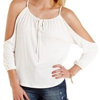 Ivory Extreme Cold Shoulder Peasant Top by Charlotte Russe