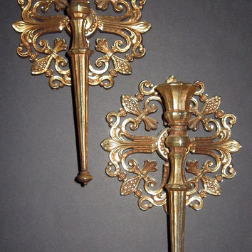 Old Hollywood Gold Candle Sconces vintage 70s Syroco Shabby Chic French Sconce Holder Pair