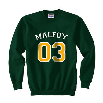 Malfoy 03 Yellow ink inside Draco Malfoy Harry Potter Unisex Crewneck Sweatshirt Deep forest