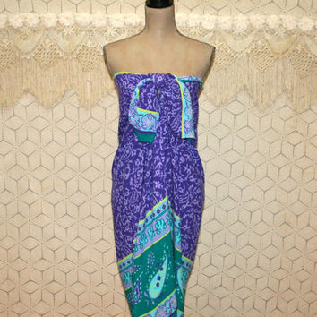 Diane Von Furstenberg Sarong Skirt Wrap Dress Pareo Beach Cover Up Rayon Teal Purple Paisley India Print Vintage Clothing Womens Clothing