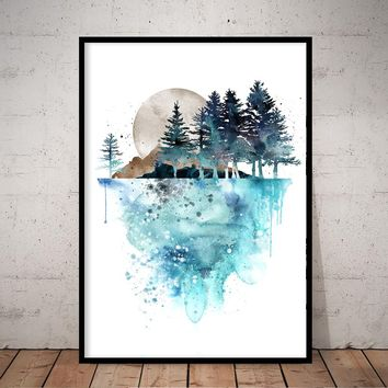 Forest wall Art, Forest Print, Tree Print, Nature Watercolor Wall Art decor mountain - 219