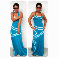 Leisure Blue U Neck Maxi Dress