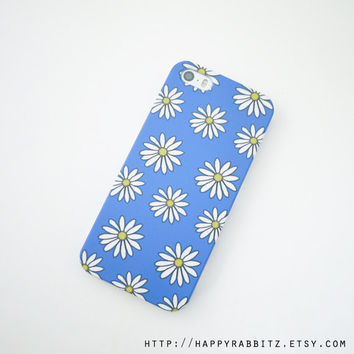 Blue Daisy iphone 5 case, Floral iphone 5s case, cute iphone case, iphone 5 cover, iphone 5s cover, art iphone cover