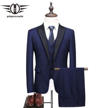 Men 3 Piece Suits Slim Fit Men Wedding Suits Tuxedos Formal Wear Shawl Collar Costume
