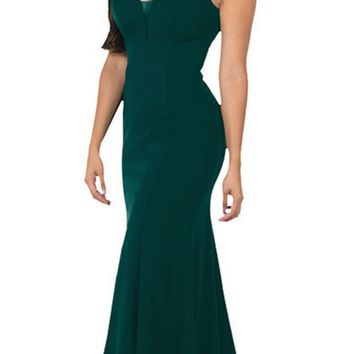 V-Neck and Back Green Evening Gown Sleeveless