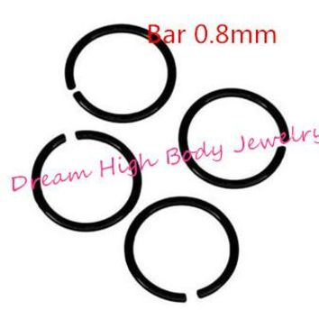 Hoop Nose Ring piercing Earring Jewelry Black Titanium Anodized Seamless Endless Tragus Cartilage Hoop Ring 0.8mm 18G 20G 22G