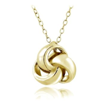 Gold Tone over Sterling Silver Polished Love Knot Necklace