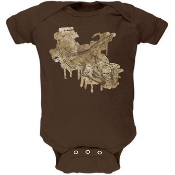 LMFCY8 Dinosaur Fossil Triceratops Skull Soft Baby One Piece