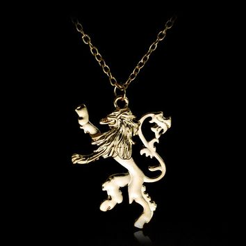 Men personalized Jewelry Game Of Throne Lannisters Lion Pendant NECKLACE Chain Jewely