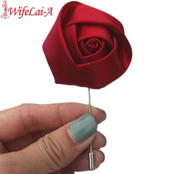 WifeLai-A Cheapest 5pcs/lot Custom Satin Rose Flower Wedding Corsage Boutonnieres Bridal Wedding Party Groom Flowers Brooch Pin