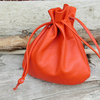 Orange Leather Drawstring Pouch Bag  Large by Shirlbcreationstoo