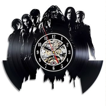 Vinyl Record Wall Clock Retro Modern Design Dumbledore Harry Potter Black Unique Watch Wall Clocks Home Decor Silent
