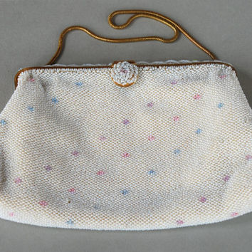 Vinage Beaded Handbag Hand Made in France Evening Purse Cream Glass Seed Beads Gold Tone Frame 1950's // Vintage Accessory