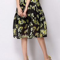 Black Mesh Flare Skirt with Yellow Floral Print