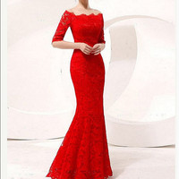 Sexy red mermaid lace wedding dress custom size Half-sleeve prom dress formal evening dress