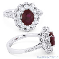 2.54 ct Oval Cut Ruby & Diamond Pave Right-Hand Cocktail Ring in 18k White Gold