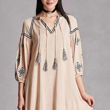 Embroidered Peasant Swing Dress